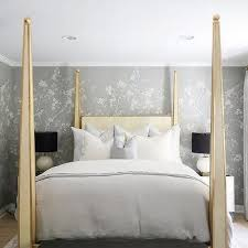Gold 4 Canopy Bed With Gray Chinoiserie Wallpaper