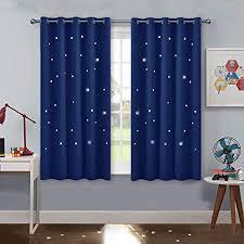 pony vorhang kinderzimmer junge blaue gardinen mit ösen hohle sterne vorhänge für kinder schlafzimmer dekoschals gardine ösenschal 2er set h