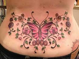 Flower And Butterfly Lower Back Tattoo Design