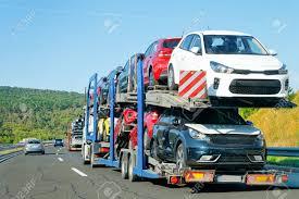 100 Truck Carrier Cars In The Asphalt Highway Poland Transporter