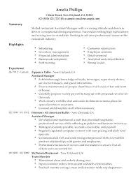 Resume For Restaurant Manager Sample Assistant Resumes Shift In