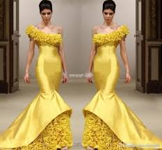 new design yellow mermaid pageant evening dresses one shoulder