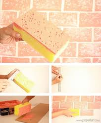 Diy Wall Paintings Sponge Painting Walls Ideas Brick Design From A Rectangle Home 7