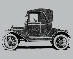 Black Antique Car Drawing