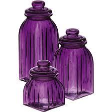 Purple Kitchen Canisters New Glass Jars 3pc Decor Storage