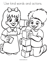 Use Kind Words And Actions Coloring Page