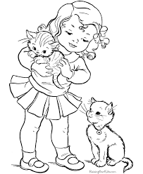 Preeschool Kitten Playing With Kids Girl Coloring Page