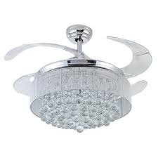 Silver Fan Crystal Ceiling Decorative Body Retractable Blades Light Living Room Led Dining In Fans From Lights