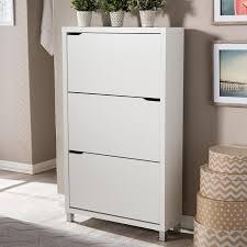 Baxton Studio Shoe Cabinet White by Amazon Com Baxton Studio Simms 3 Tier Modern Shoe Cabinet White