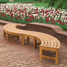 Curved Wood Bench With S Shape Design And Outdoor Garden Furniture Red White Tulip Also Brick Flooring Styles