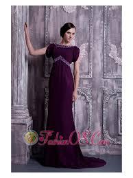 Elegant Dark Purple Mother Of The Bride Dress Column Bateau Chiffon Beading Brush Train