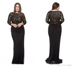 black 2017 plus size special occasion dresses lace long sleeves