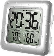 iadong digitale badezimmer duschuhr große wasserdichte wanduhr thermometer hygrometer temperatur feuchtemessgerät mit 4 saugnäpfen und halterungen