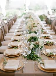 Garland Running The Length Of Table Gold Rimmed Stemware Chargers