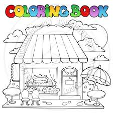 Cartoon Coloring Book Bakery Shop