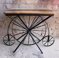 Industrial Reclaimed Wooden Cycle Wheel Dining Table