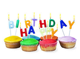 Download Colorful Happy Birthday Cupcakes With Candles Stock Image