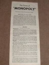 Image Is Loading SET OF RULES INSTRUCTIONS From Vintage 1961 Monopoly