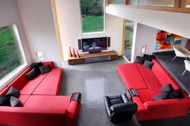 Red Sofa Living Room Ideas by Living Room Small Design With Modern Red Sofa And Large Tv Stand