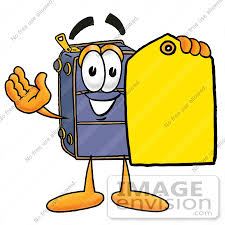 28197 Clip Art Graphic Of A Suitcase Luggage Cartoon Character Holding Yellow Sales Price