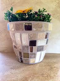 Large Flower Pot Mosaic Planter Handmade Indoor Patio Glass Stone Rustic Kitchen Herb Garden Container
