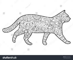Cat Coloring Book For Adults Vector Illustration Anti Stress Adult Zentangle