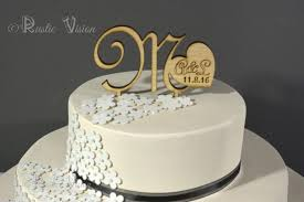 Wooden Wedding Cake Topper Rustic