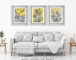 Set Of 3 Mustard Yellow Decor Wall Art Grey
