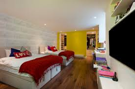 Bedroom Ideas For Teenagers Boys With Accent Wall Colors And Twin Bed Also Red Blanket Plus Throw Pillows Built In Storage Wood Floor Recessed