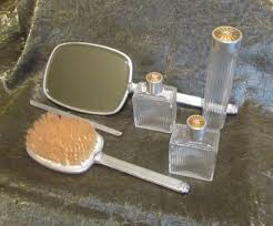 Celluloid Vanity Dresser Set by 1930 U0027s Celluloid Guilloche Vanity Dresser Set Mirror Brush Comb