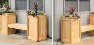 diy wooden garden bench with two planter box also wood wall pallet