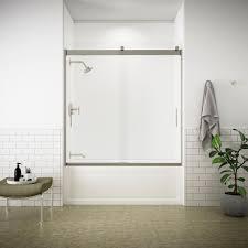 kohler levity 59 in x 62 in semi frameless sliding tub door in