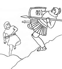 David And Goliath Coloring Pages Falling Down