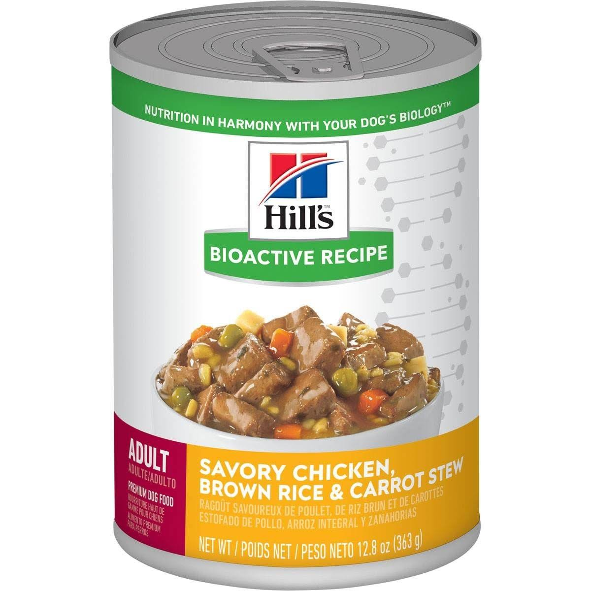 Hill's Bioactive Recipe Adult Dog Food - Savory Chicken, Brown Rice & Carrot Stew 363g
