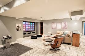 flor carpet tiles basement contemporary with beige counter stool