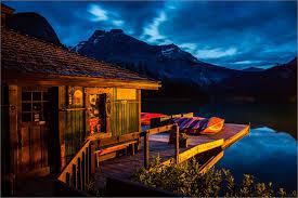 Nighttime at the boathouse on Emerald Lake
