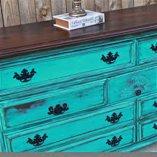 Turquoise Dresser Vintage Rustic Wood Furniture Buffet TV Stand Storage