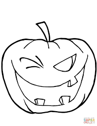 Scary Pumpkin Faces Templates by Halloween Pumpkin Winking Coloring Page Free Printable Coloring
