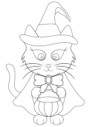 Download Cartoon Halloween Cat Coloring Page Stock Illustration