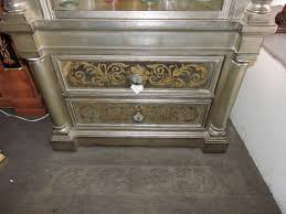 silver leaf lighted curio cabinet for sale antiques