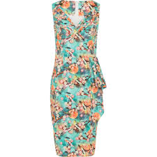 voodoo vixen jessa tropical bird print pencil dress green