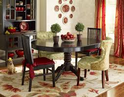 Art Deco Dining Room Design With Pier One Ronan Pedestal Table Green Floral