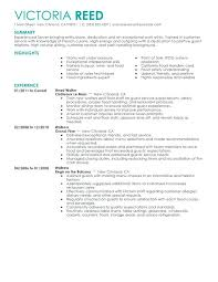 Sample Resume Restaurant Server Supervisor
