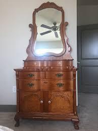 Tiger Oak Dresser Chest by Lexington Victorian Sampler Dresser With Mirror Model 391 221
