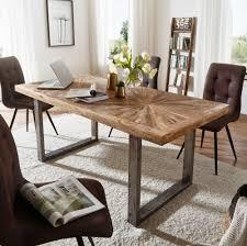 wohnling esstisch mango massivholz esszimmertisch 180x76 5 x90 cm küchentisch loft natur holztisch massiv mit metallgestell industrial tisch