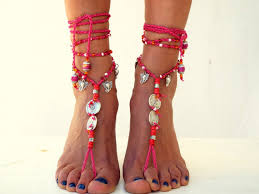 Water Mellon Barefoot Sandals Boho Shoes Jewelry Gemstones Hippie Foot Toe Thong Festival Accessories Yoga