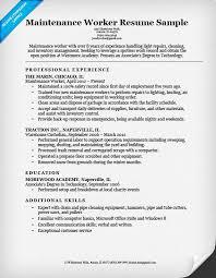 Maintenance Job Resume Objective Worker Example Latest Add
