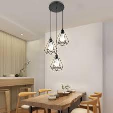 pendelleuchte industrie decke hängende leuchte kronleuchter e27 für esstisch esszimmerle wohnzimmer schwarz