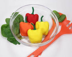 Felt Food Vegetables Pepper Bell Kitchen Decor Thanksgiving Fabric Bright