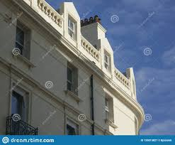 100 Brighton Townhouses England The UK White Stock Image